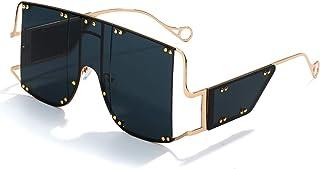 Oversized Fashion Square Sunglasses Women New Mirror Men Shades Glasses Luxury Metal Rivet Trend Unique Female Eyewear