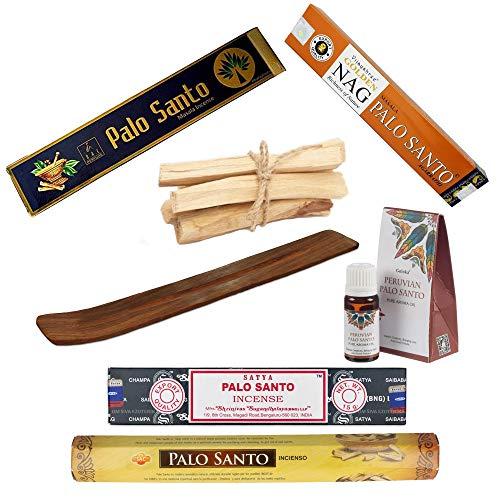 Pack Premium de Inciensos de Palo Santo | Aromas para Meditación y Relajación | 4 Variedades de Varillas (Sac, SAYTA, BAJALI, Golden NAG) + Porta Inciensos + Aceite Esencial + 5 Palos de Palo Santo