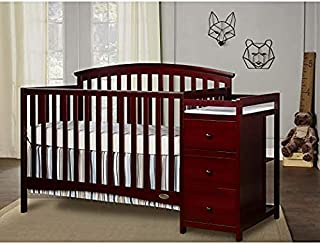 Dream On Me Niko 5-in-1 Convertible Crib with Changer, Cherry with Two Sided Contour Changing Pad, White and Spring Crib and Toddler Bed Mattress, Twilight