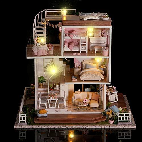 beeyuk Kit De Casa De Muñecas En Miniatura DIY Casa Hecha A Mano, Modelo De Casa En Miniatura con Muebles, Música Hecha A Mano, Regalos para Niños Y Adultos