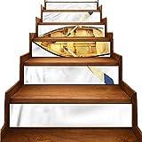 JiuYIBB - Pegatinas de vinilo para escaleras, diseño de peces de tiburón en salvavidas y resistentes a la humedad