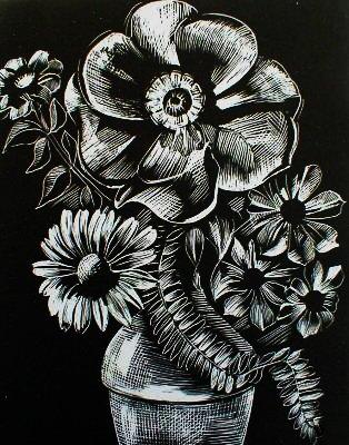 WASO-Hobby - 4er Scrapy Kratzbilder Set - Blumenmotive / Silber