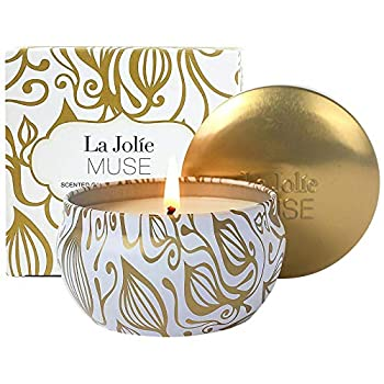Aromatherapy Scented Candles - Vanilla & Coconut Essential Oil Soy Wax Stress Relief Candle 6.5 Oz Travel Tin Decorative Candle Birthday Relaxing Candle Gift for Women