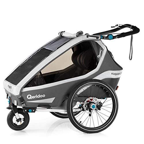 Qeridoo Kidgoo2 Sport Kinderfahrradanhänger (2020/2021) - Grau