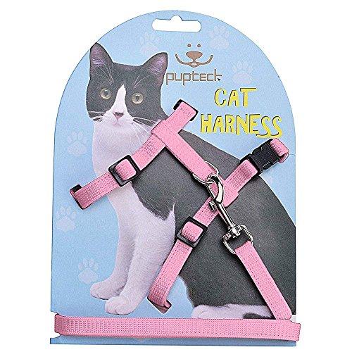 PUPTECK ハーネス 猫用 小型犬 ハーネス ナイロン製耐久性良い胴輪 リード付 ピンク