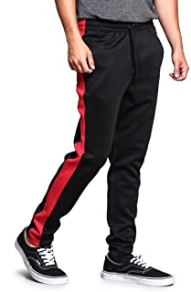 Men's Premium 4-Way Extra Stretchy Ankle Zip Contrast Outer Side Stripe Slim Fit Drawstring Track Pants