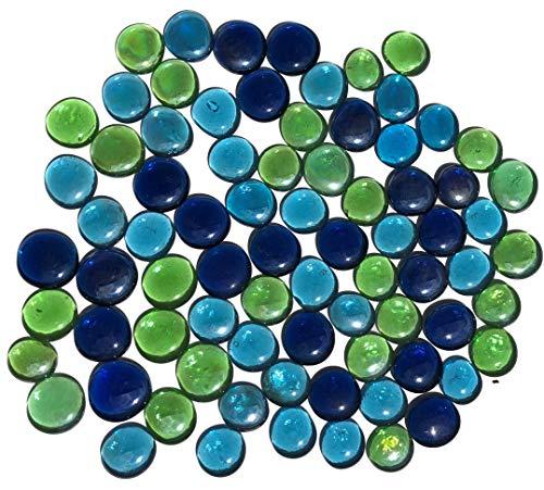 Rhinestone Paradise Piedras decorativas de cristal, aprox. 75 piedras multicolor, verde y azul, de 3 a 4 cm, piedras planas, redondas, decorativas, piedras brillantes, mosaico