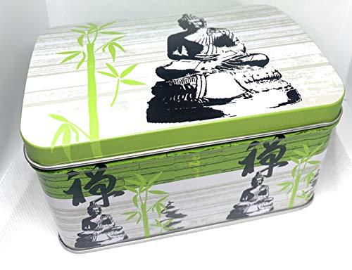 Perfekto24 Teedose im Buddha Design – Tee Aufbewahrung mit Aromadeckel Platz für 250g – auch als Geschenkidee geeignet