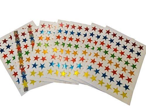 10 feuilles métal voitures, animaux, étoiles, récompense, visage souriant, divers autocollant style pour Loisirs créatifs Enfants Scrapbooks - par Fat-catz-copy-catz - 10 feuilles coloréétoiles, 13cm x 10cm