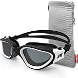 ZIONOR Swim Goggles, G1 Polarized Swimming Goggles UV Protection Leakproof Anti-Fog Adjustable Strap for Adult Men Women (Polarized Smoke Lens Black White)