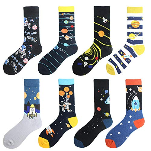 whmyz Herren-Socken aus gekämmter Baumwolle Bunte Happy Astronaut Long Warm Dress...