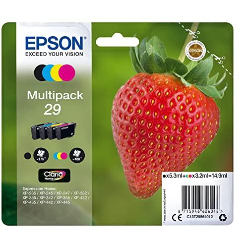Epson Multipack 29 Fraise, Cartouches d'encre d'origine, 4 couleurs: Noir, Cyan, Magenta, Jaune, XP-235 XP-243 XP-245 XP-247 XP-255 XP-257 XP-332 XP-335 XP-342 XP-345 XP-352 XP-355 XP-432 XP-435