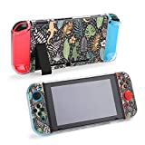 Tropical Palm Leaves and Gecko Lizards Case for Nintendo Switch Enhanced Grip Rubberized Protective Cover Case