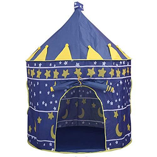 Jasonwell Casa de campaña con diseño de Castillo para niños niñas Tiendas de campaña Transpirable para Guardar Juguetes Uso Interior y Exterior Azul