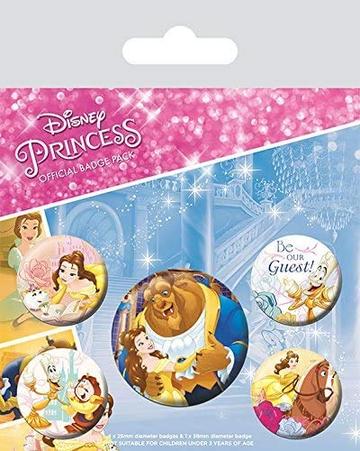 Pyramid International Pack chapas Beauty and The Beast Classic, Multicolor, 10 x 12.5 x 1.3 cm