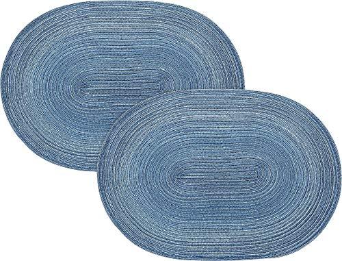 Pichler Tischset Samba 2er-Pack blau Größe oval: 33x48 cm