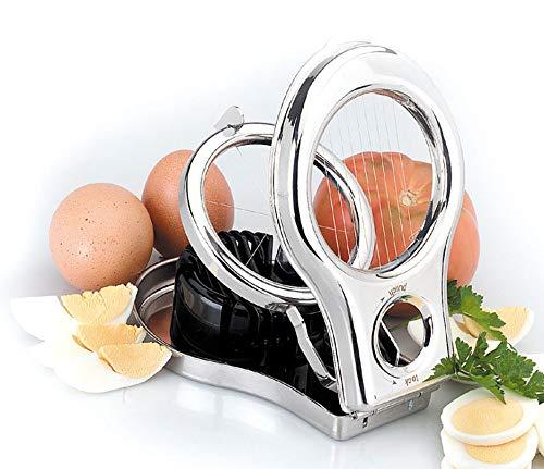 Hochwertiger Premium Eierschneider aus Edelstahl - schneidet Scheiben und Spalten spülmaschinenfest metall