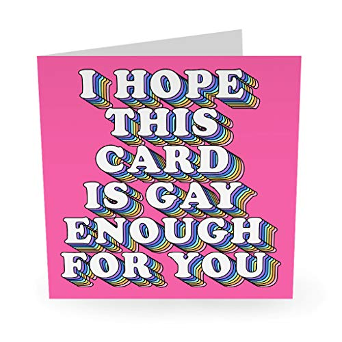 "Central 23 - ""I Hope This Is Gay Enough For You"" - Funny Gay Lesbian Card - LGBTQ - Boyfriend Girlfriend Partner - Fun Stickers Included"