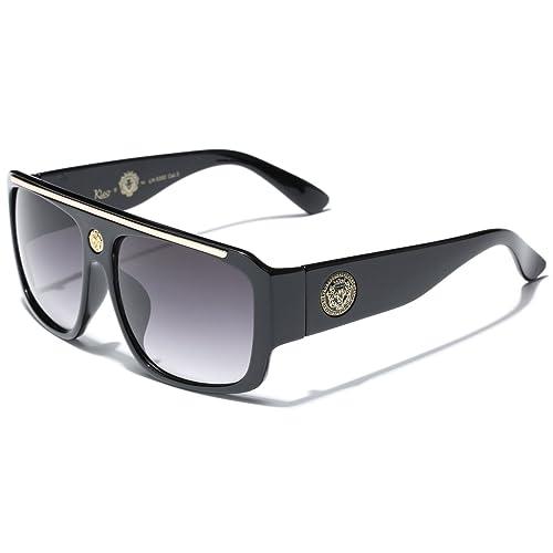 42c169f43d83 Kleo Flat Top Hip Hop Rapper Retro Aviator Sunglasses