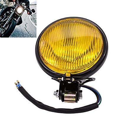 "KaTur Motorcycle 5"" Headlight Head Lamp Light DC 12V Motorbike Headlamps Amber For Harley Bobber Choppers Touring Custom Bikes"