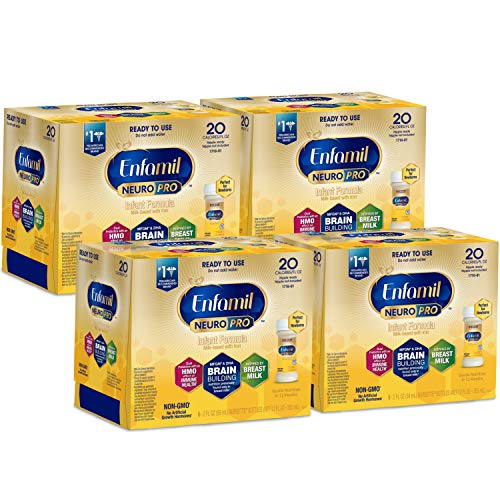 Enfamil NeuroPro Ready to Use Baby Formula, Ready to Feed, Brain and Immune Support with DHA, Iron and Prebiotics, Non-GMO, 2 Fl Oz Nursette Bottles (6 count) (Pack of 4), Total 24 bottles