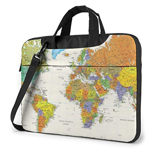 Bolso de Hombro para portátil con Mapa Mundial Compatible con Coche Ultrabook de 13-15,6 pulgadasbolso de Mano con Correa