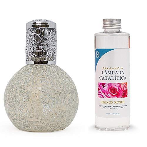 ANTIHUMEDADES Pack Lámpara Catalítica Mosaico Blanco 200 ml + Fragancia de Ambiente (Bed of Roses, 200 ml)