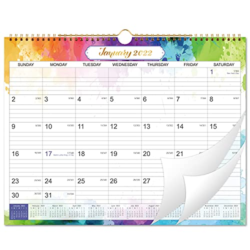 2022 Wall Calendar - Wall Calendar 2022 from Jan 2022 to Dec 2022, 12 Months Calendar with Julian Date, 17 x 12 Inches, Twin-Wire Binding, Suitable for Hanging on the Wall, Color Design, Good Decorative Effect