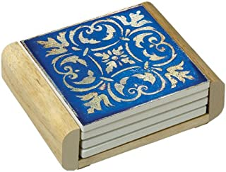 CounterArt Spanish Tiles-Blue Absorbent Coasters in Wooden Holder, Set of 4