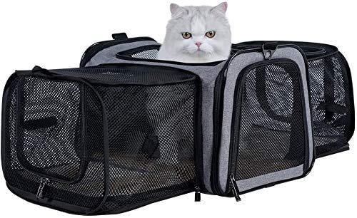 Petsfit Transporttasche Katze Hund, Katzentransportbox Transportbox Hundebox Flugtasche für Hund & Katze mit 2 großen Verlängerungen für Haustiere bis 7 kg