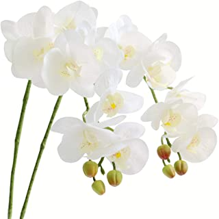 MUFEN 9 Heads Artificial Orchids Real Touch Flowers Fake Phaleanopsis for DIY Bonsai Home Garden Decor,Pack of 2 (White)