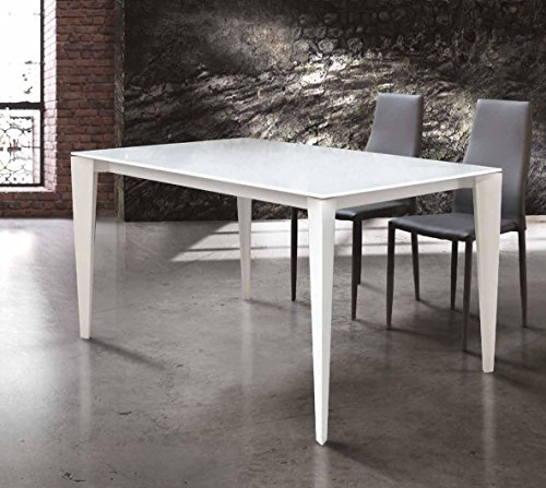 InHouse srls Table avec Plateau en Verre et Structure en Metal Blanc avec 2 rallonges cm. 40 cm; Dimensions cm. 140X90; avec rallonges cm. 180x90