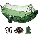 Hamaca con mosquitera, capacidad de carga de 300 kg, de secado rápido, ultraligera, con 2 mosquetones, 2 correas robustas para exteriores, camping, jardín, camuflaje