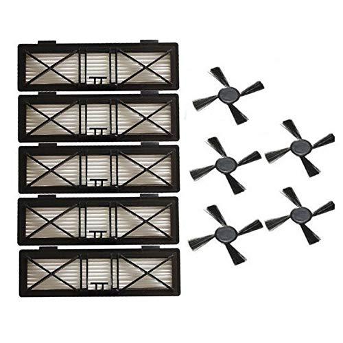 L-Yune, 5pcs Ultra Preformance Filter & 5pcs Seitenbürste Ersatz for Neato Botvac D-Serie 945-0215 Filter 70e D75 D80 D85 Kits Teile