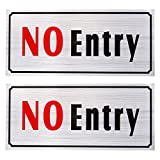 2-Pack of No Entry Signs - No Trespass Signs, Private Property Signs, Self Adhesive, Aluminum Privacy Signs for Office, Business and Home Use, Silver - 7.8 x 3.6 Inches