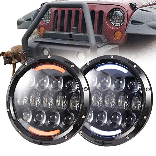 "COWONE 7""inch 105W Cree LED Headlights with White DRL Amber Turn Signal Compatible with1997-2018 Jeep Wrangler JK LJ CJ TJ Hummer H1 H2 Headlamps"