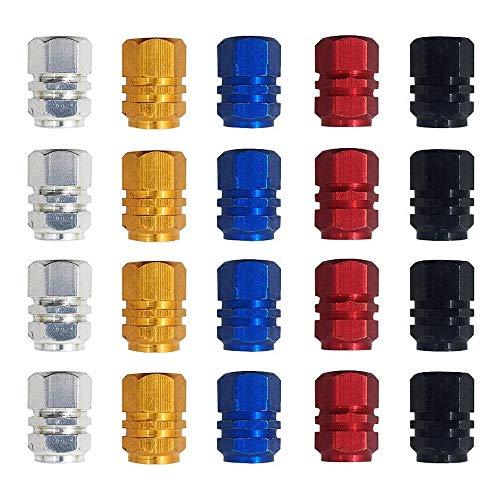 Gobesty Farbe Ventilkappen Auto, 20 Stück Reifenventil Staubkappen Auto Staubschutzkappen Autoventilkappen für MotorbikeTrucks Fahrrad Motorrad Gold Silber Rot Blau Schwarz