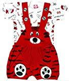 SAS Baby Girl Baby Boys Dungaree Set for Kids, a Fashioned Product (RED, 6-12)