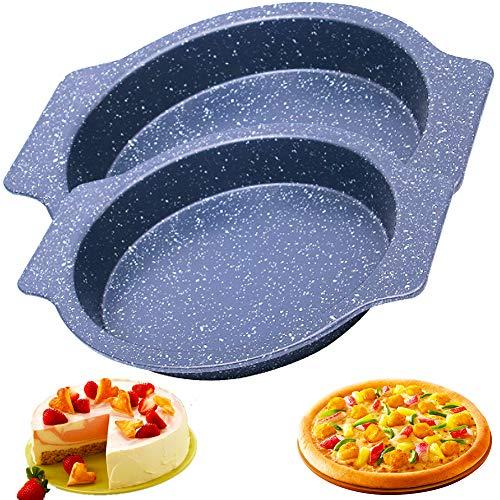 Bandeja para Pizza, BESTZY Bandeja para Pizza Redonda de Acero al Carbono con Revestimiento Antiadherente, Base Plana, Juego de Moldes para Pizza (2 Piezas)