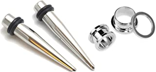 Pair of 316l Stainless Steel Tapers and Screw Tunnels Ear Stretching Kit Gauges Plugs 00g 0g 1g 2g 4g 6g 8g 10g 12g
