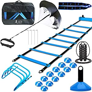 Speed Agility Training Set, Includes 1 Resistance Parachute, 1 Agility Ladder, 4 Steel Stakes, 4 Adjustable Hurdles, 12 Disc Cones | Speed Training Equipment for Soccer Football Baseball Basketball by MLCINI
