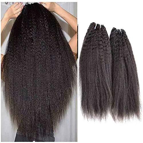 Queengirl Lot de 3 extensions de cheveux humains péruviens vierges non traités 10A - Couleur naturelle (50,8 cm, 50,8 cm)