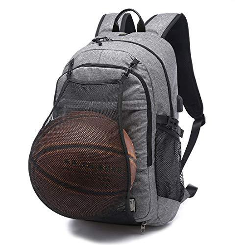 MYYINGELE Sport Basketballtasche mit Taschengröße, manuelle Luftpumpe, Basketballrucksack für Outdoor-Sport, ideal für Basketball, Fußball, Volleyball für Erwachsene, Gray