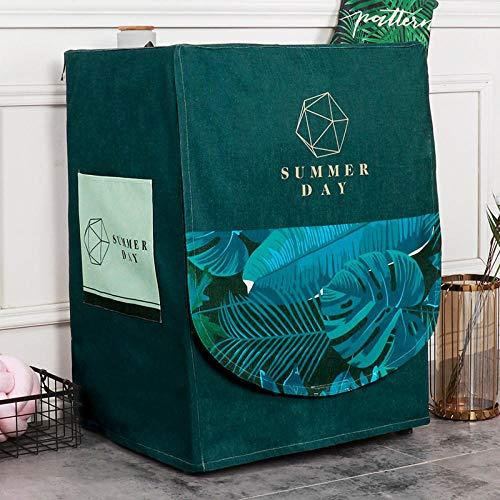 Funda para lavadora y lavadora de carga frontal para Lavadora o Secadora, Funda para lavadora-Hoja suprema verde oscuro_Ancho 60 Espesor 55 Alto 85cm