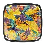Pomos de arte para armarios de cocina, tiradores de cristal de cristal, color morado, azul, amarillo, con tornillos, 4 unidades
