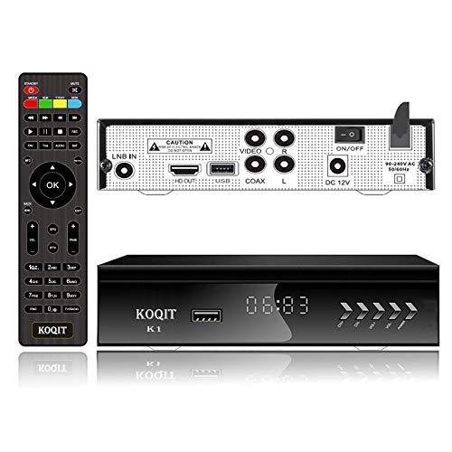 KOQIT Free to Air FTA HD Digital Satellite TV Receiver Built-in Galaxy 19 97W Satellite Receiver DVB-S2 Digital Tv Box DVB-S2/S Clear TV Tuner Sat Decoder/USB WiFi/YouTube/EPG/PVR Recording to USB