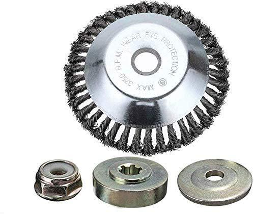 15,2 cm Universal-Kopf Unkrautbürste mit Gegenmutter für Motorsense, Platte zum Unkrautvernichten aus Stahldraht