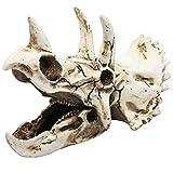 Homeilteds Reptil Vivarium Decoración for terrarios DIY Paisaje cráneo del Triceratops decoración del Acuario de Resina Artificial Ornamento Fish Tank Durable (Color : White, Size : M)