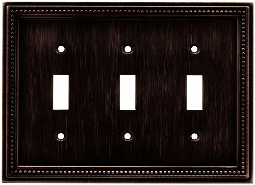 Brainerd 64408 Beaded Triple Toggle Switch Wall Plate / Switch Plate / Cover, Venetian Bronze