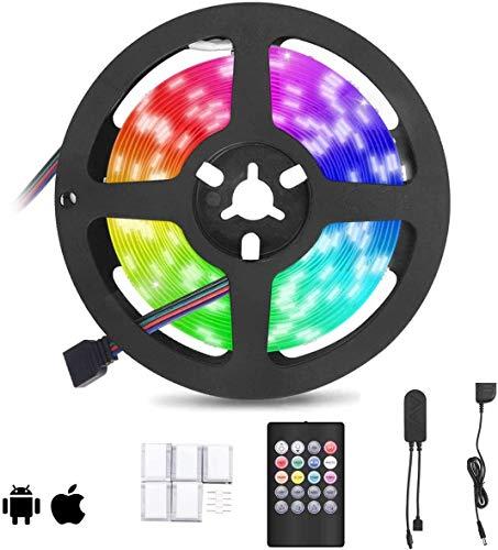 Striscia LED, FOCHEA 5M Strisce LED RGB 5050 Multicolore 28 modalità Impermeabile IP65 Dimmerabile Bluetooth Controllo Telecomando e APP per Camera da Letto, Scala, Armadio, Bar
